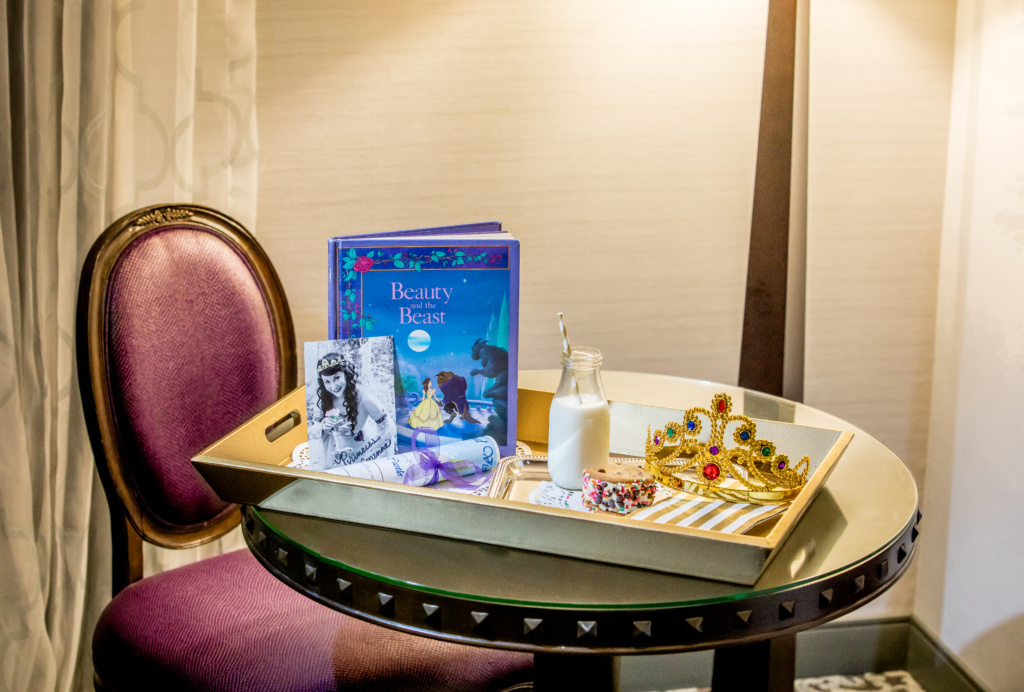 This in room service includes a special audience with Princess Corinne along with either a silver service of milk and specialty sweet treat for bedtime, or orange or apple juice and treat for breakfast. The visit includes a story time, an autographed photo of the princess, crowns for each child and a signed and dated Royal Certificate of Visit.