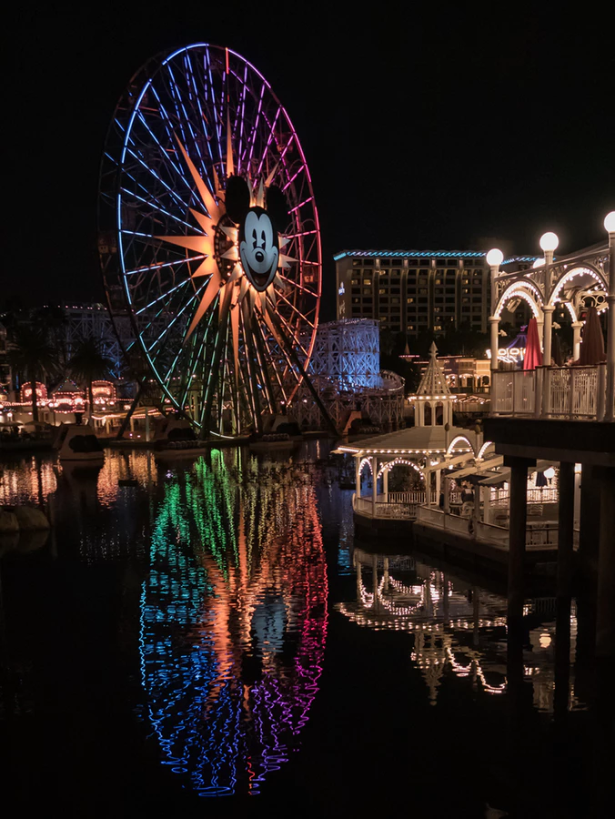 The Pixar Pal-A-Round ferris wheel all lit up can be a romantic spot for a date night.
