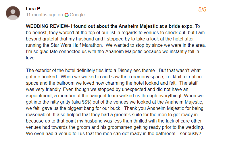 Google review for our Orange County wedding venue